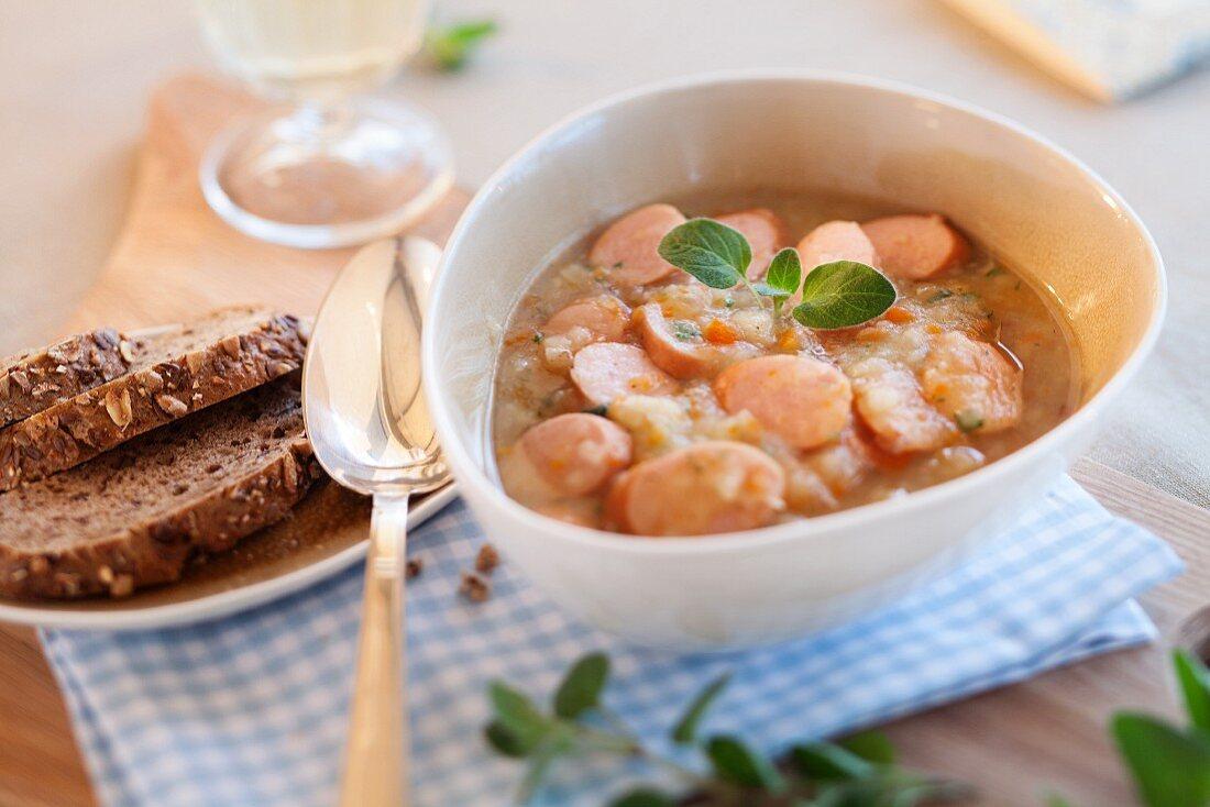 Berlin-style potato soup with sausage
