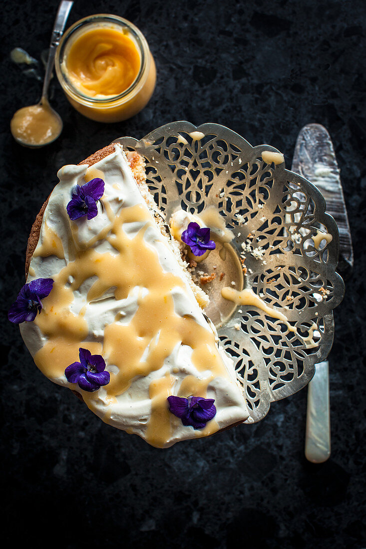 Lemon Curd and Creme Fraiche cake, decorated with violets