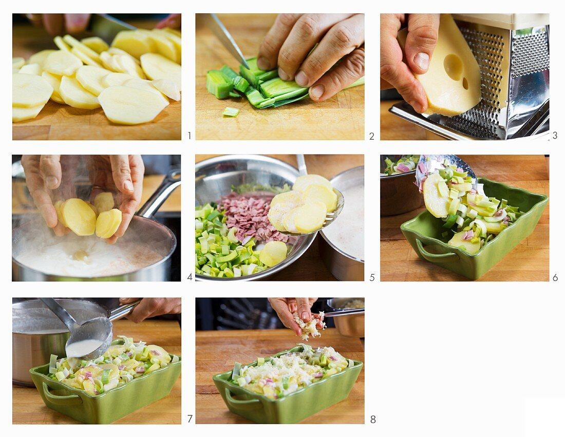 How to make leek and potato gratin