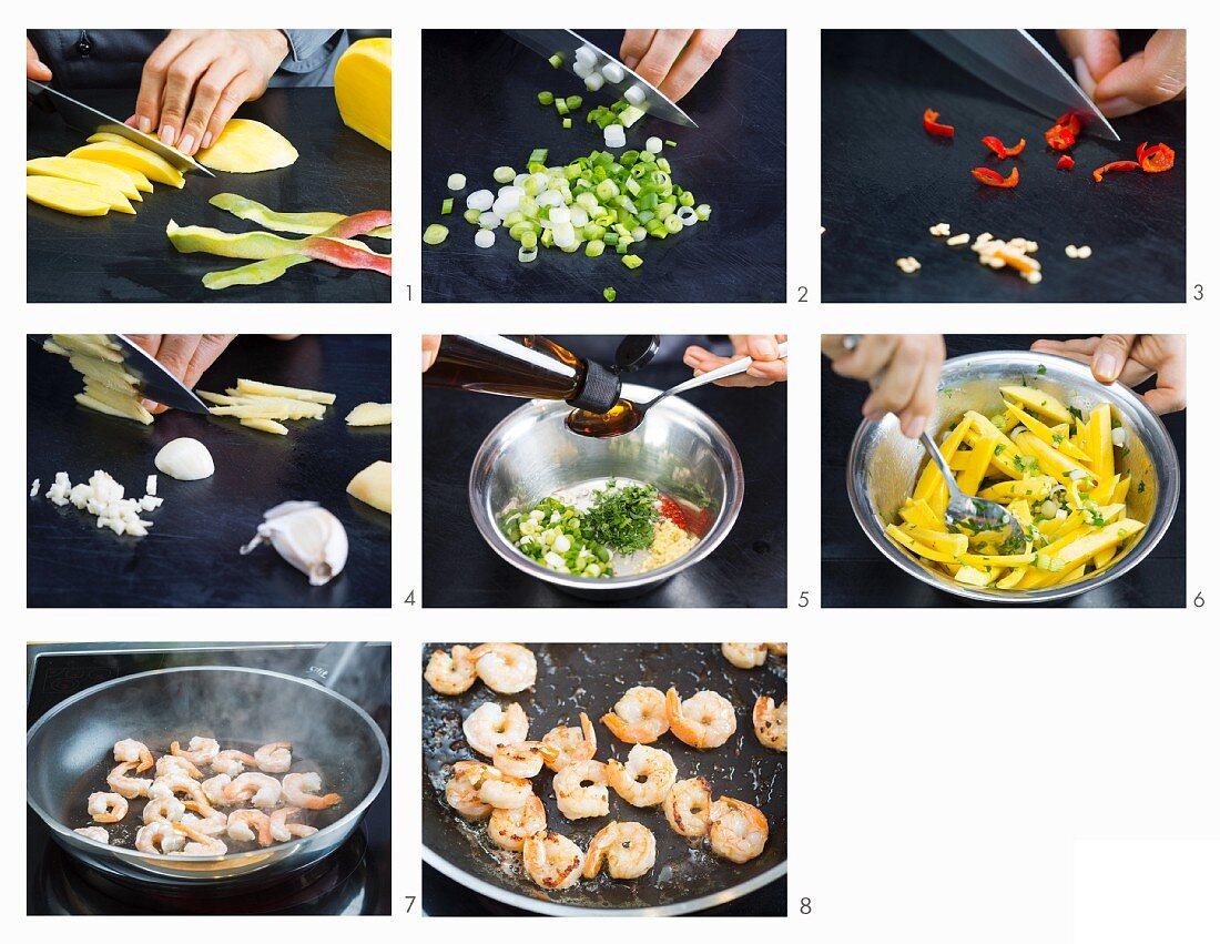 How to make mango and prawn salad