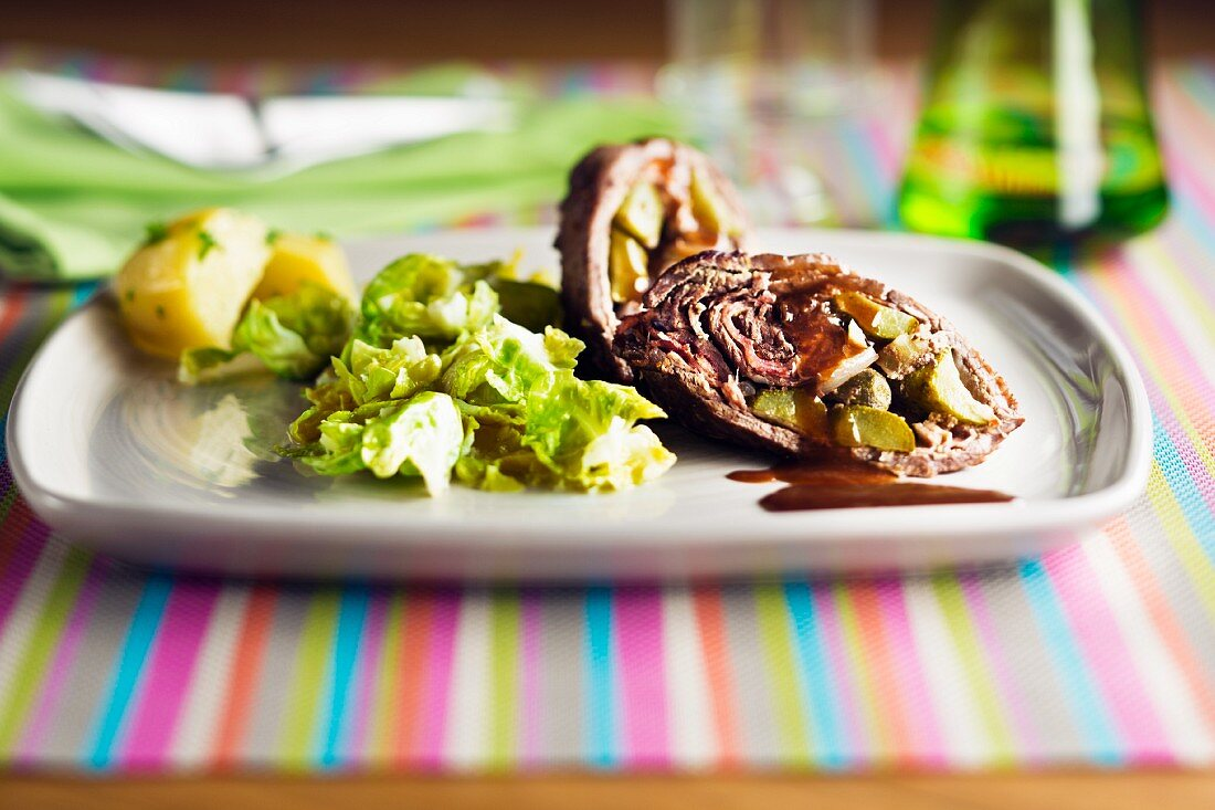 Beef roulade with brussels sprouts