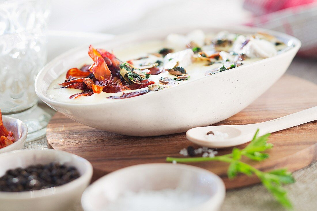 Spanish almond soup with chorizo and cod