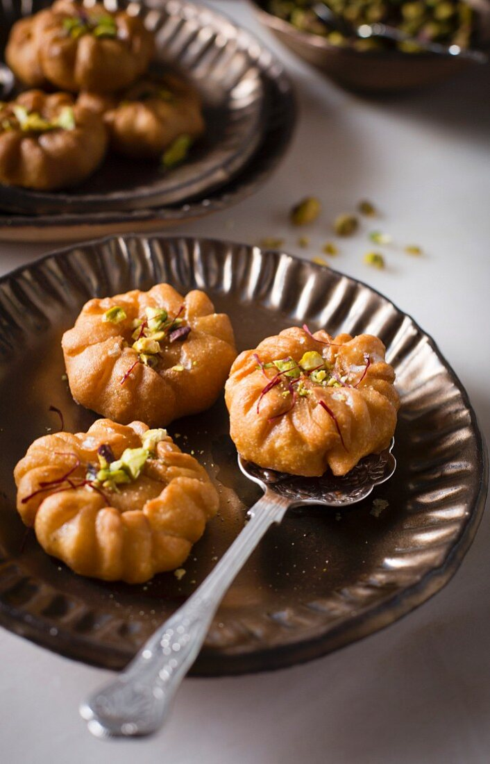 Balushahi (sweet flaky deep-fried pastries, India)