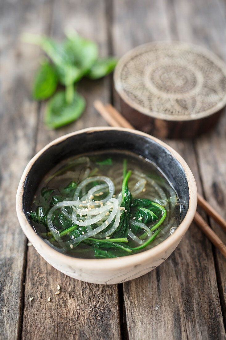 Ramen soup with radish noodles