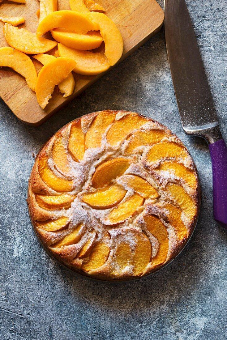 Moist peach cake