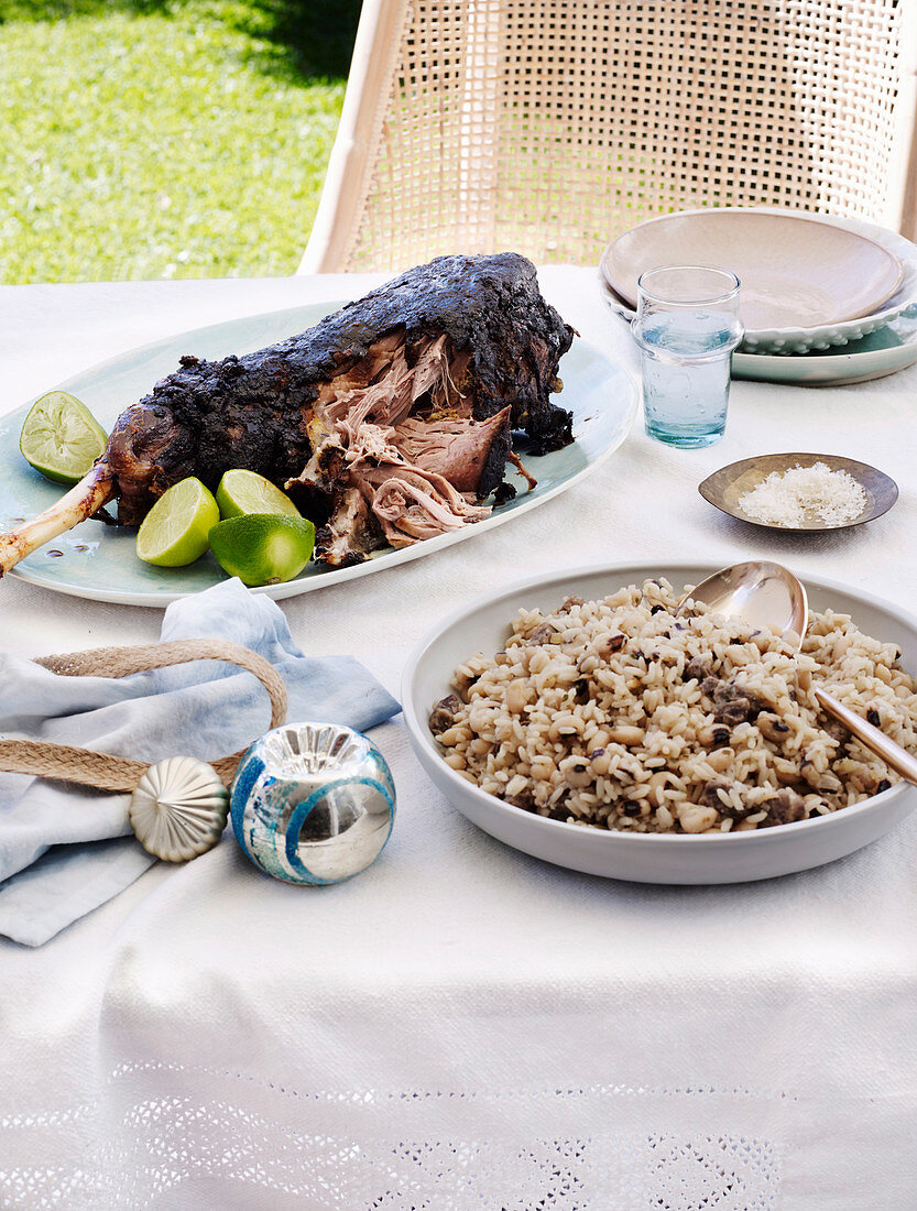 Curried Lamb leg and Peas and Rice