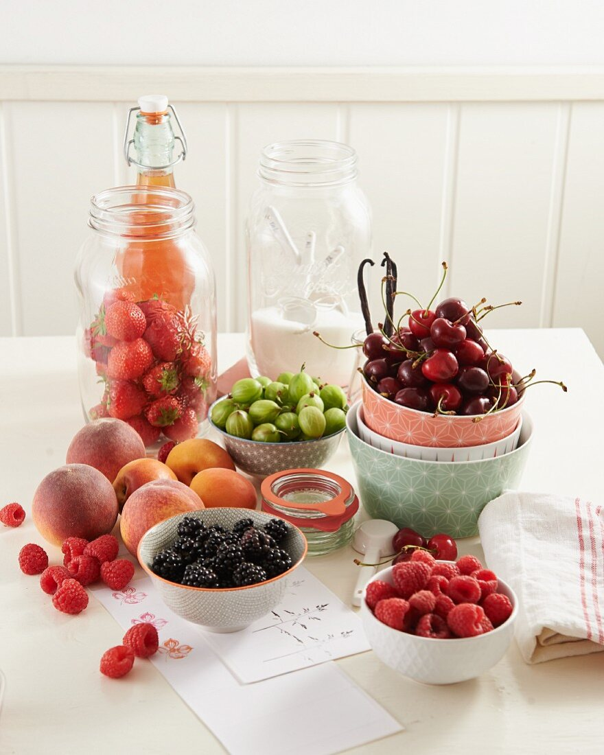 Various fruit and berries for making preserves