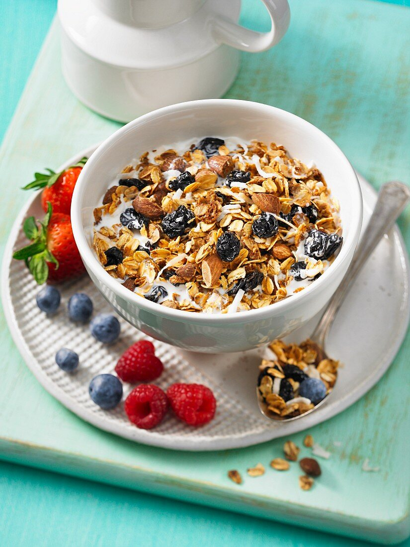 Almond and dried cherry granola