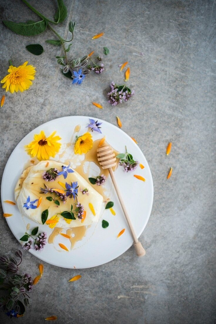Cottage cheese with honey and edible flowers