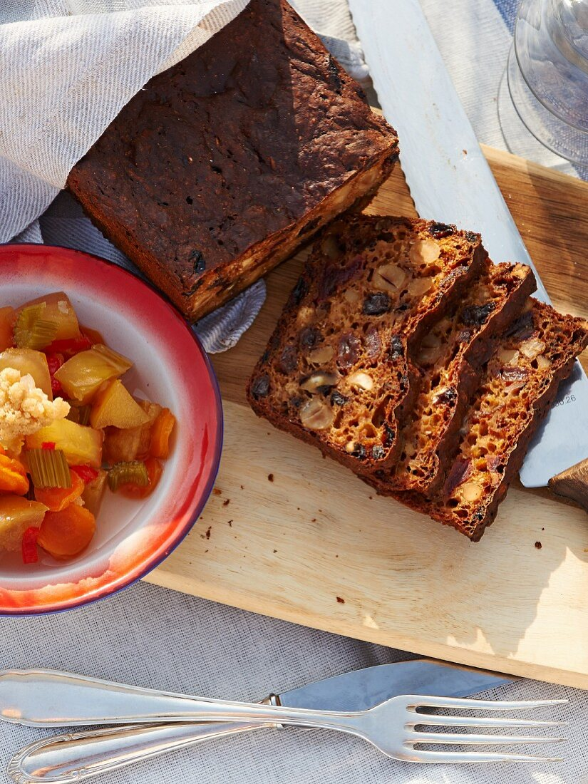 Fruit bread with nuts and pickled vegetables