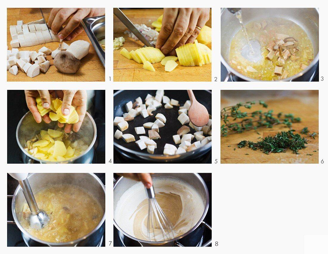 How to make mushroom soup with potatoes