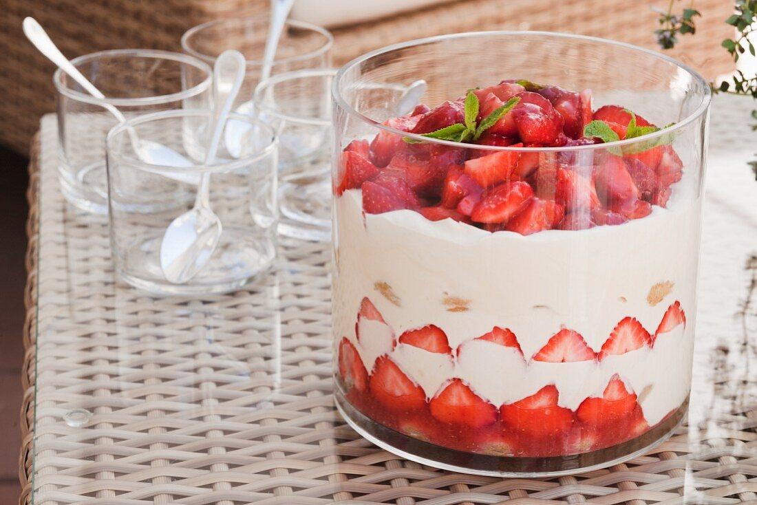 Strawberry tiramisu in a trifle glass