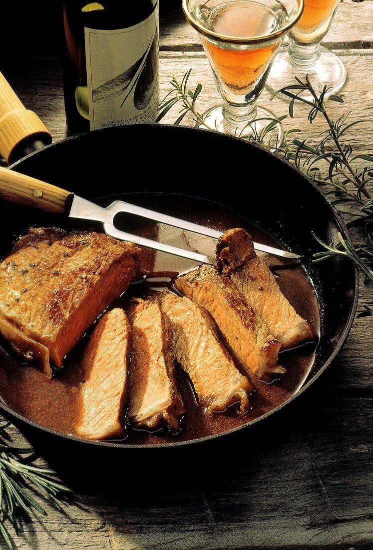 Pan-fried Sliced Steak in Cast Iron Pan