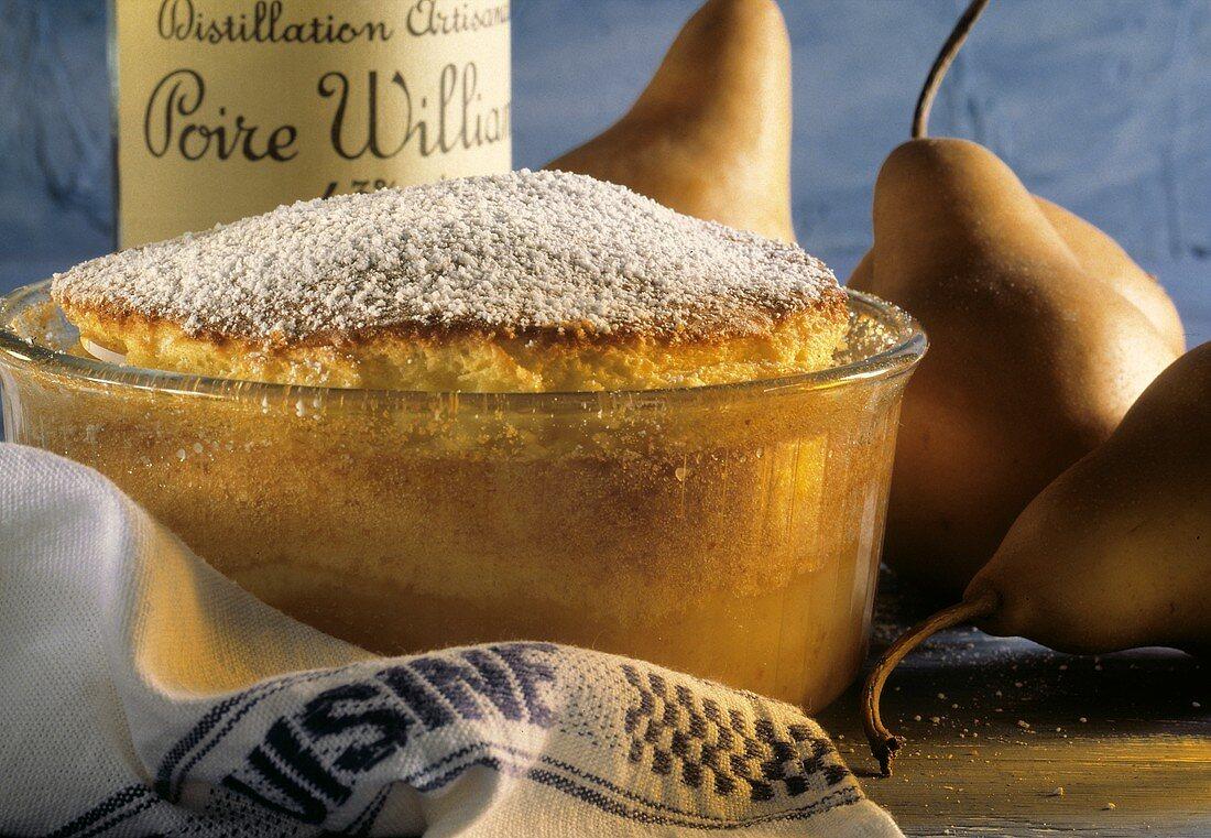 Pear Souffle in a Glass Souffle Dish