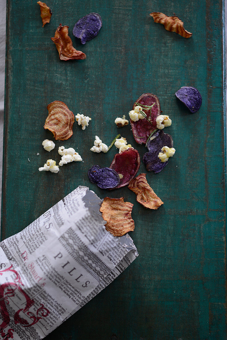 Colorful root vegetable chips with sea salt