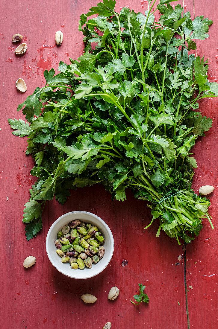 Making parsley pesto