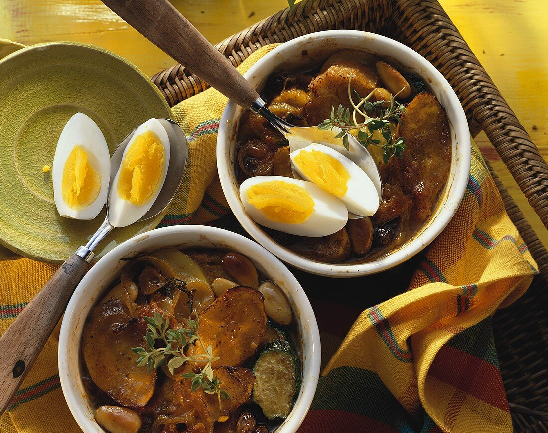 Mexican bread stew with vegetables, plantains & eggs