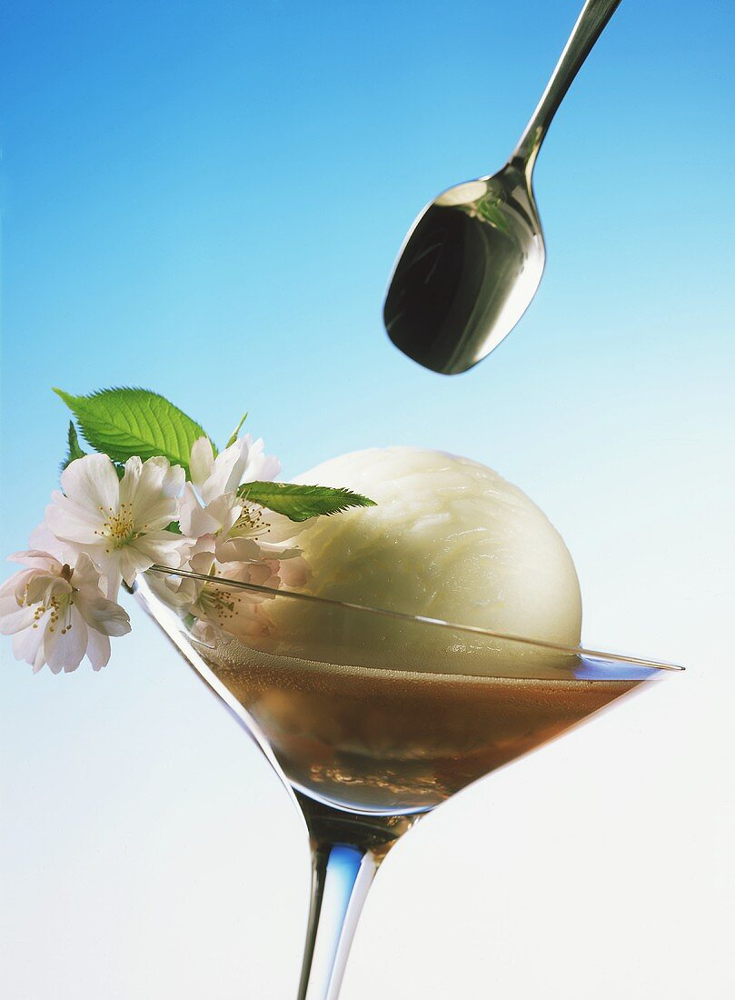 Sherbet Scoop with Champagne; Flowers in Stem Glass