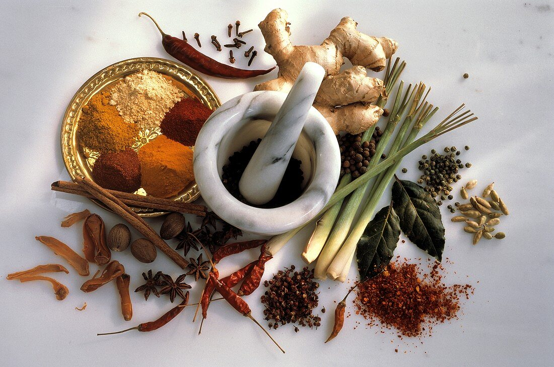 Several Exotic Spices; Marble Mortar and Pestle
