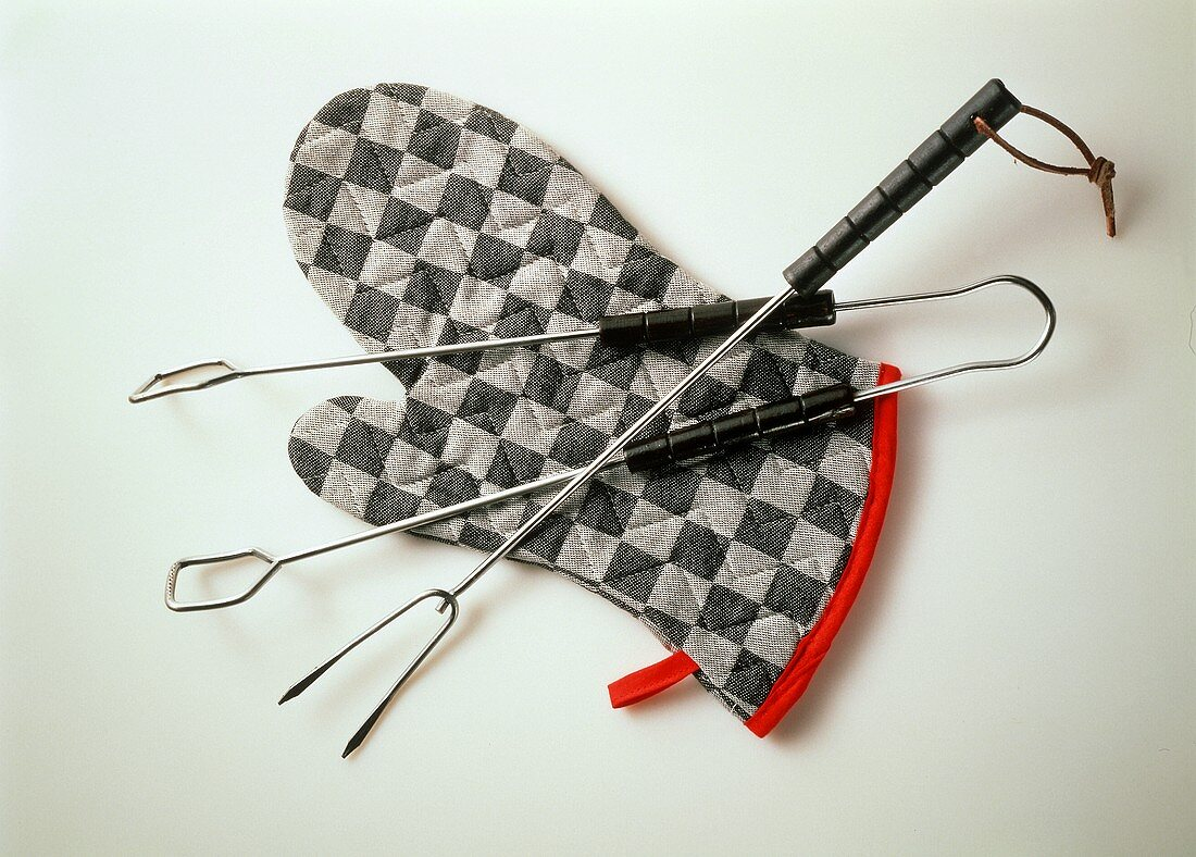 Barbecue Utensils and Oven Mitt