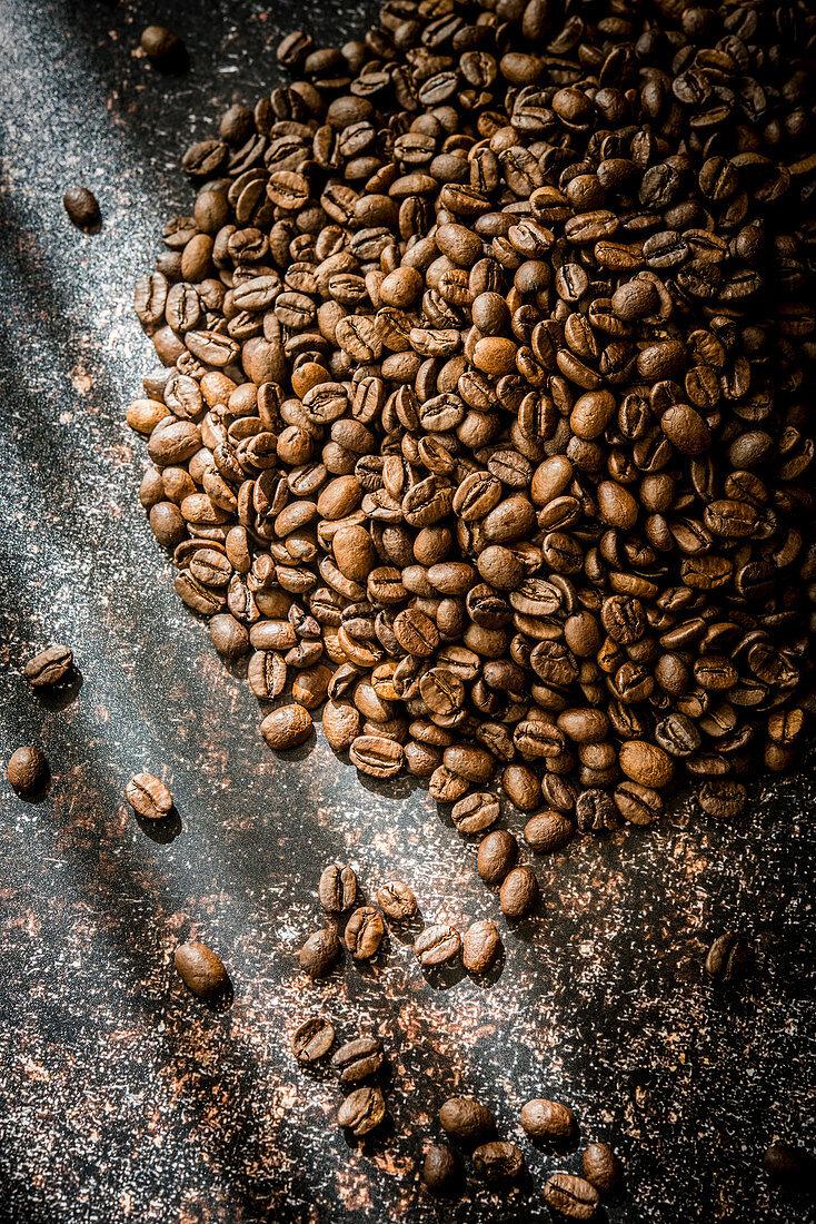 Coffee beans in sunlight
