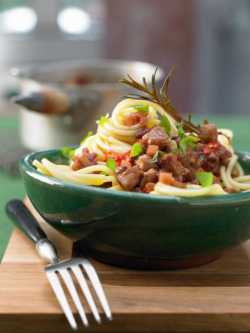 Spaghetti with redfish bolognese