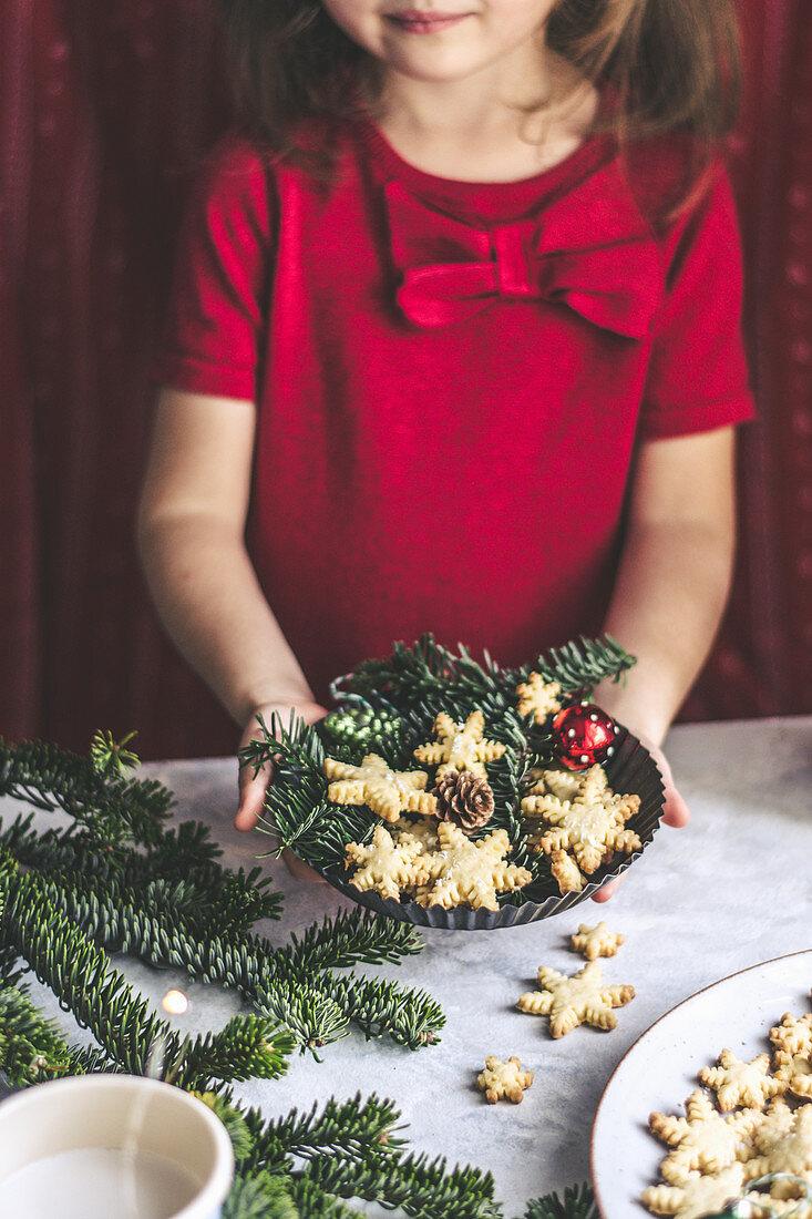 Christmas coconut snowflake cookies