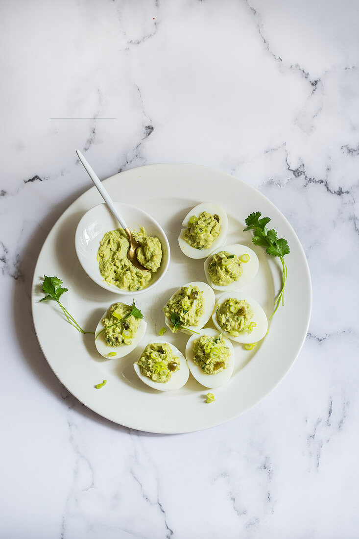 Avocado and cilantro devil eggs