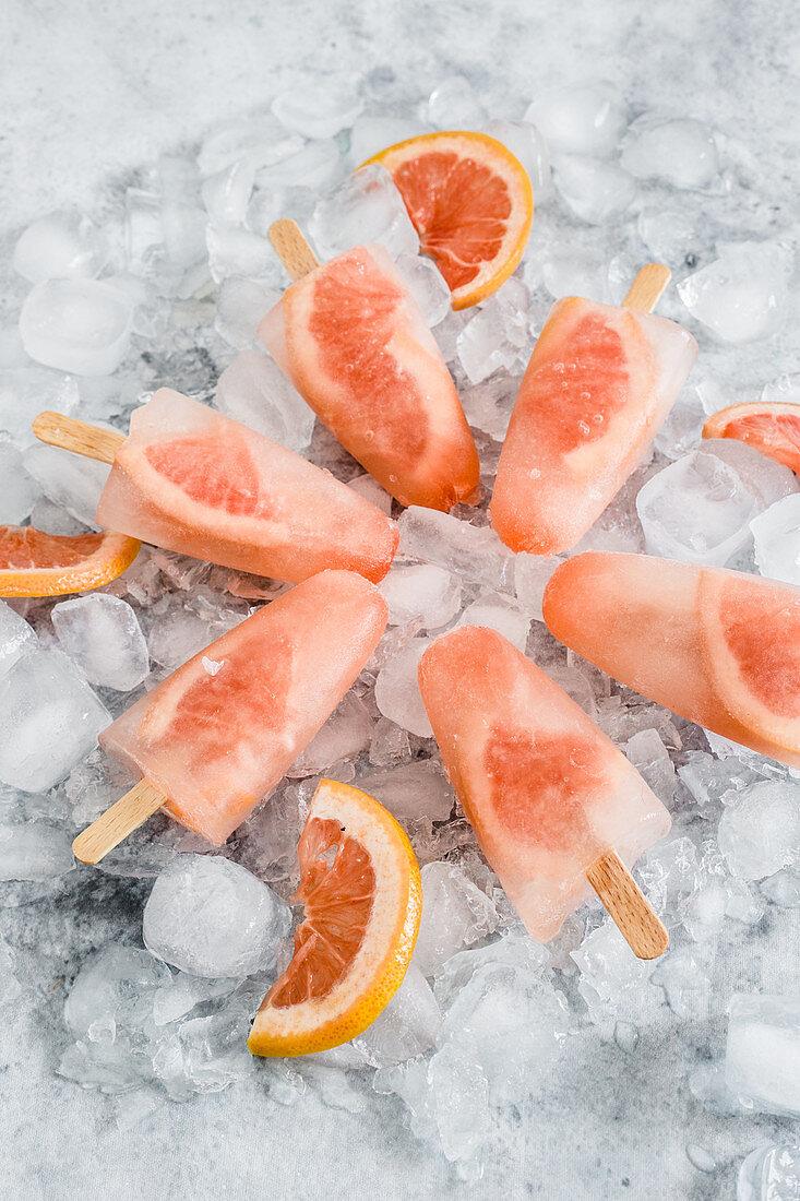 Grapefruit ice popsicles