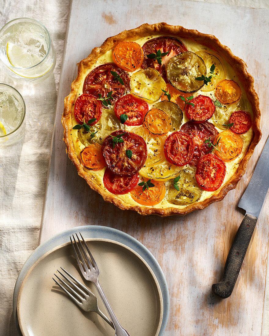 Summer Baked Heritage Tomato And Ricotta Tart
