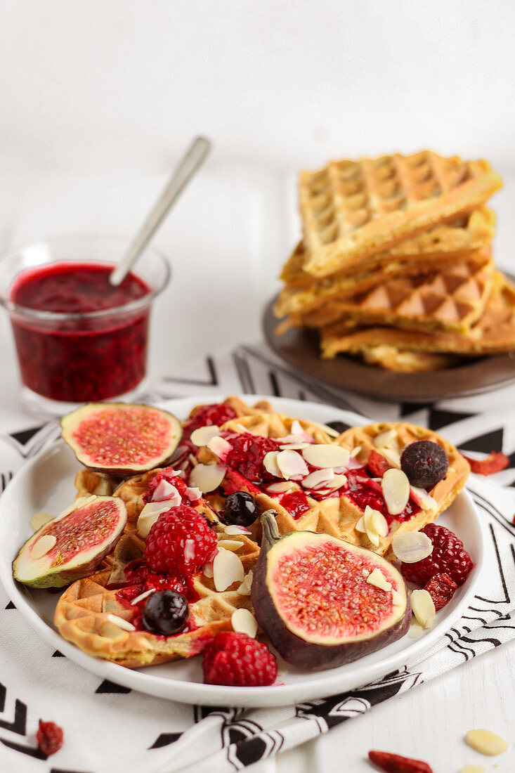 Waffles with berries and figs