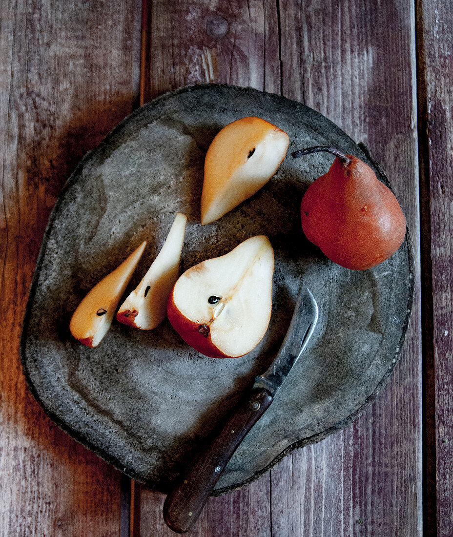 Sliced and Whole Pear