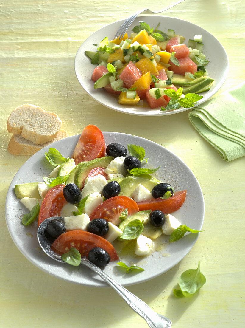 Melon avocado salad and avocado salad with tomato, mozzarella and olives