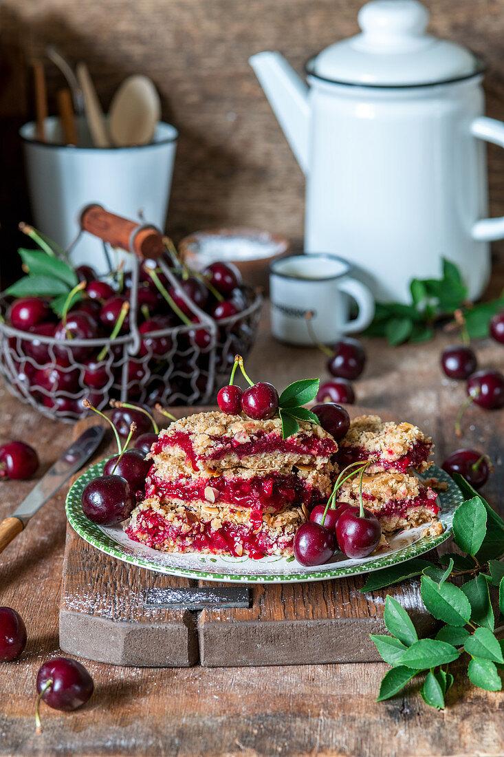 Cherry oat crumble bars