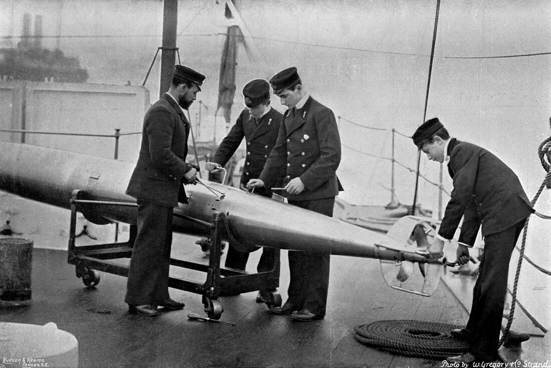Torpedo instruction on board HMS 'Theseus, 1896
