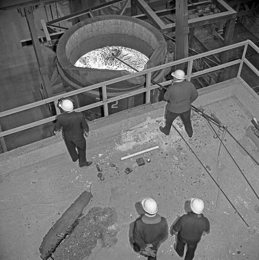 Testing the temperature of molten steel, 1964