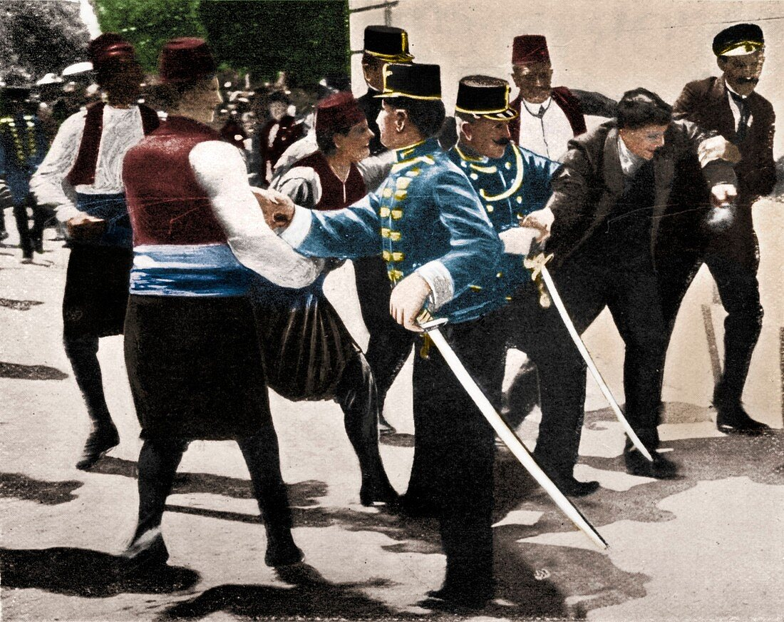 Arrest of assassin of Archduke Franz Ferdinand, 1914