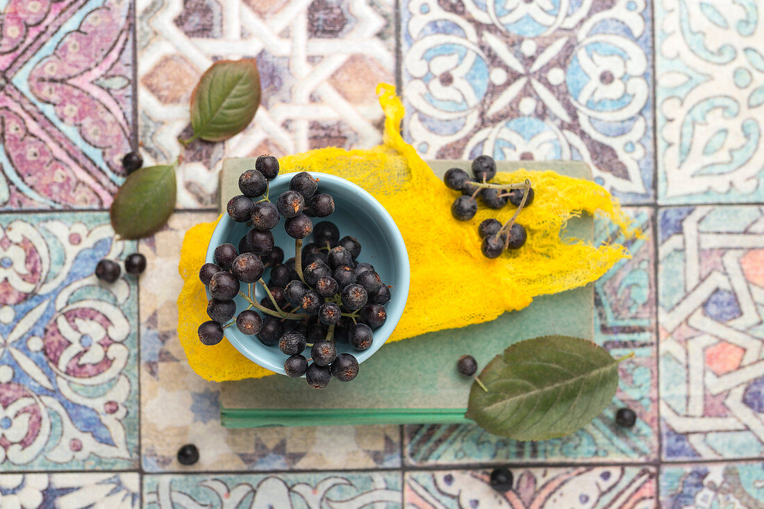 Aronia berries in a bowl on a book