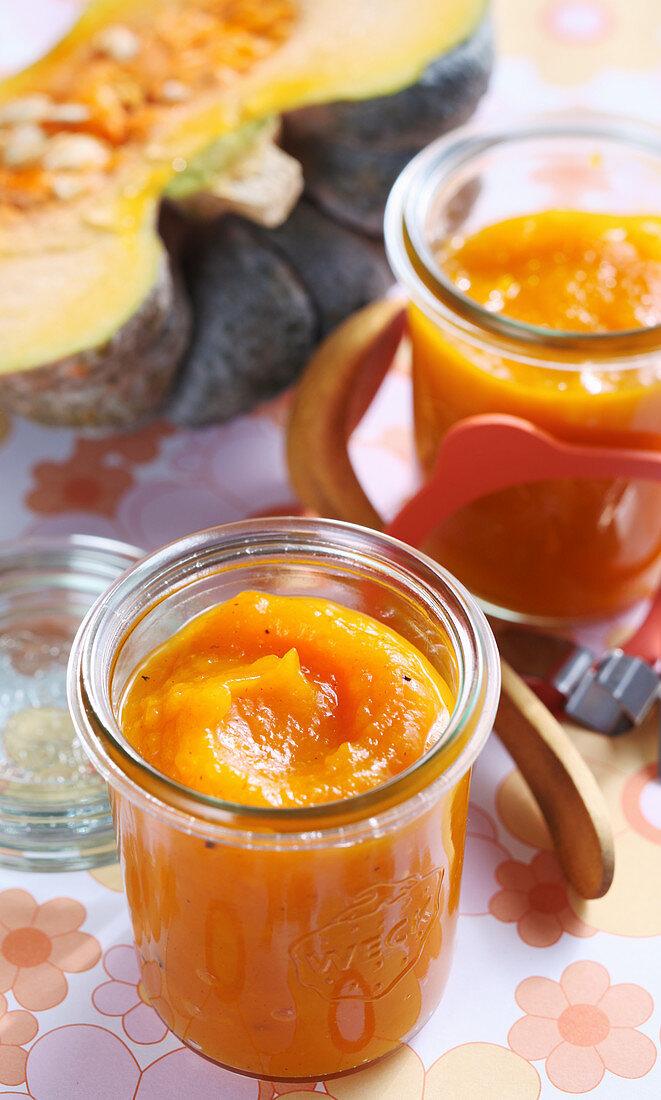 Autumnal pumpkin ketchup in a jar with curry, orange, vinegar, harissa and cinnamon