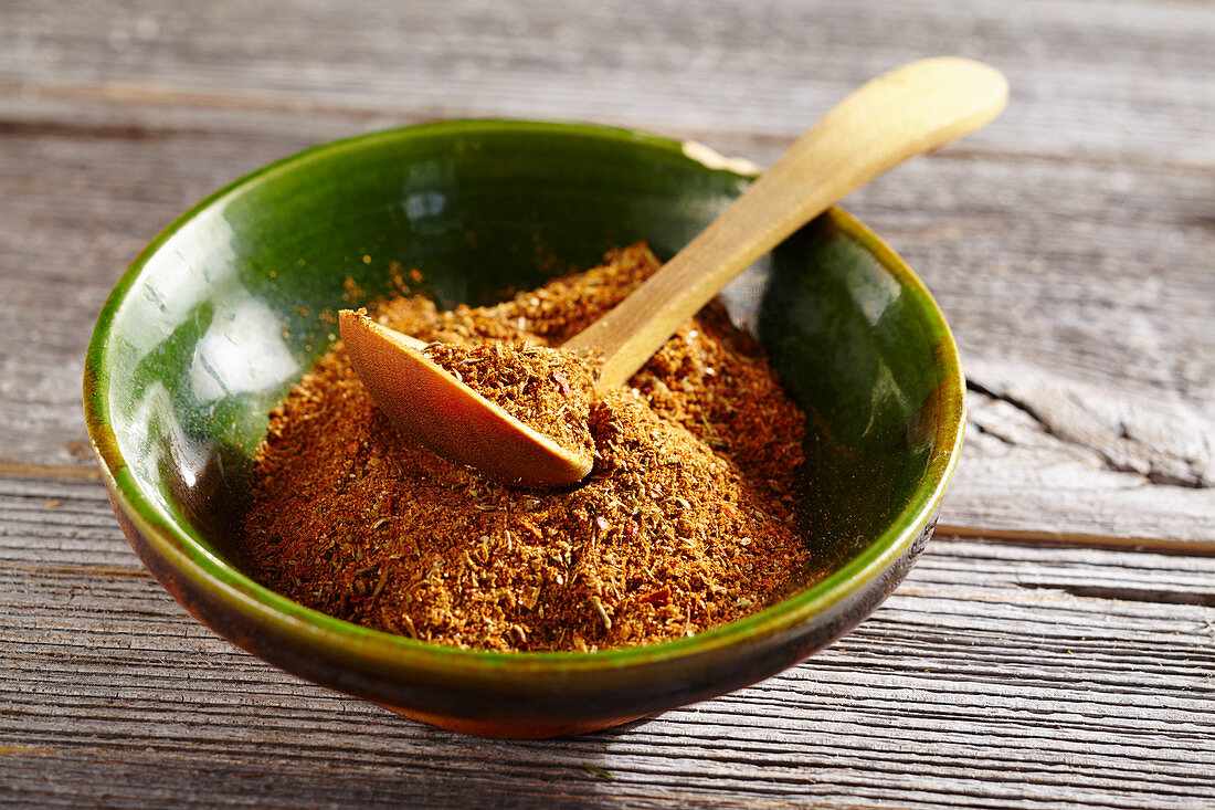 Homemade gyros spice mixture in a small bowl