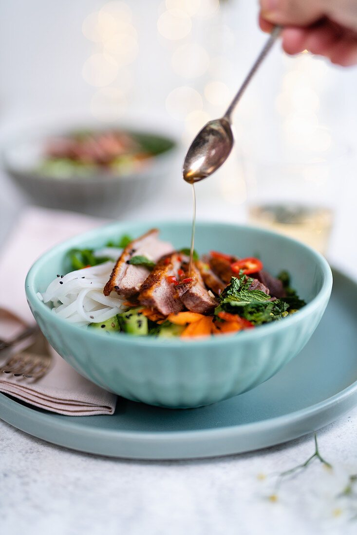 Vietnamese pasta salad with grilled duck breast
