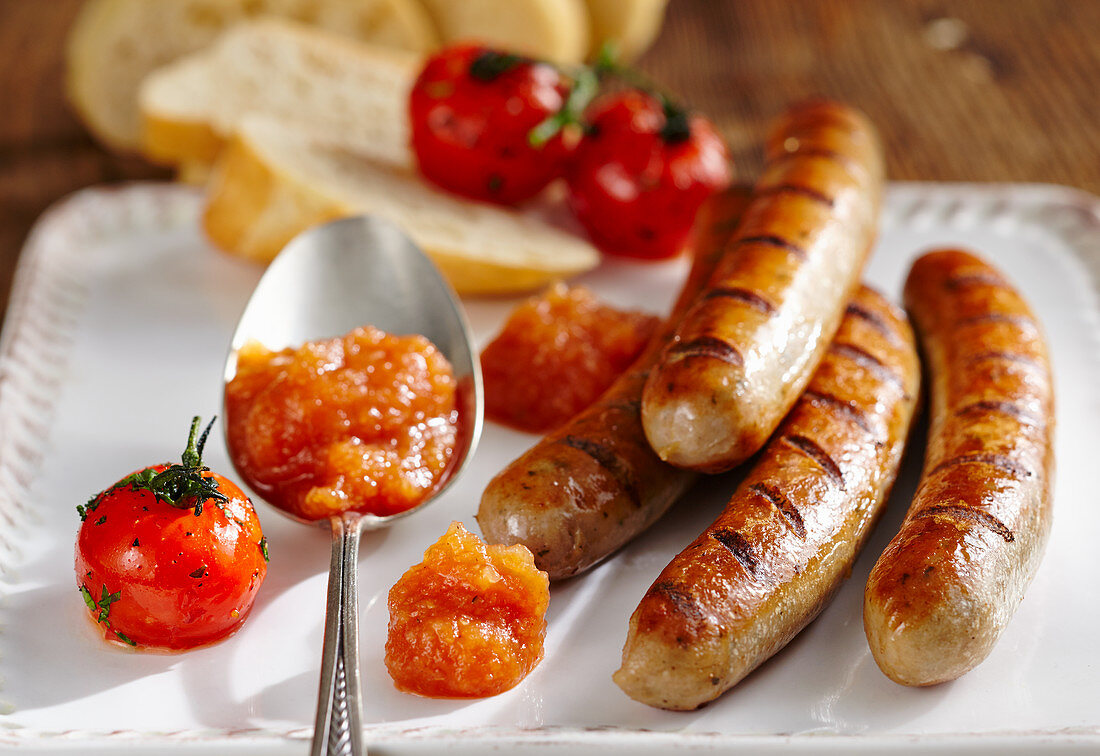 Bratwurst served with homemade apple and onion ketchup