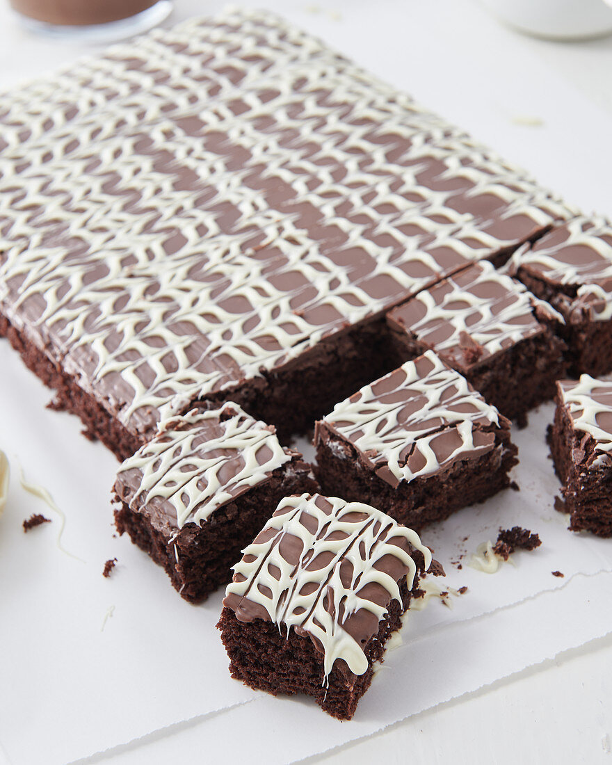 Brownies with two-tone chocolate glaze