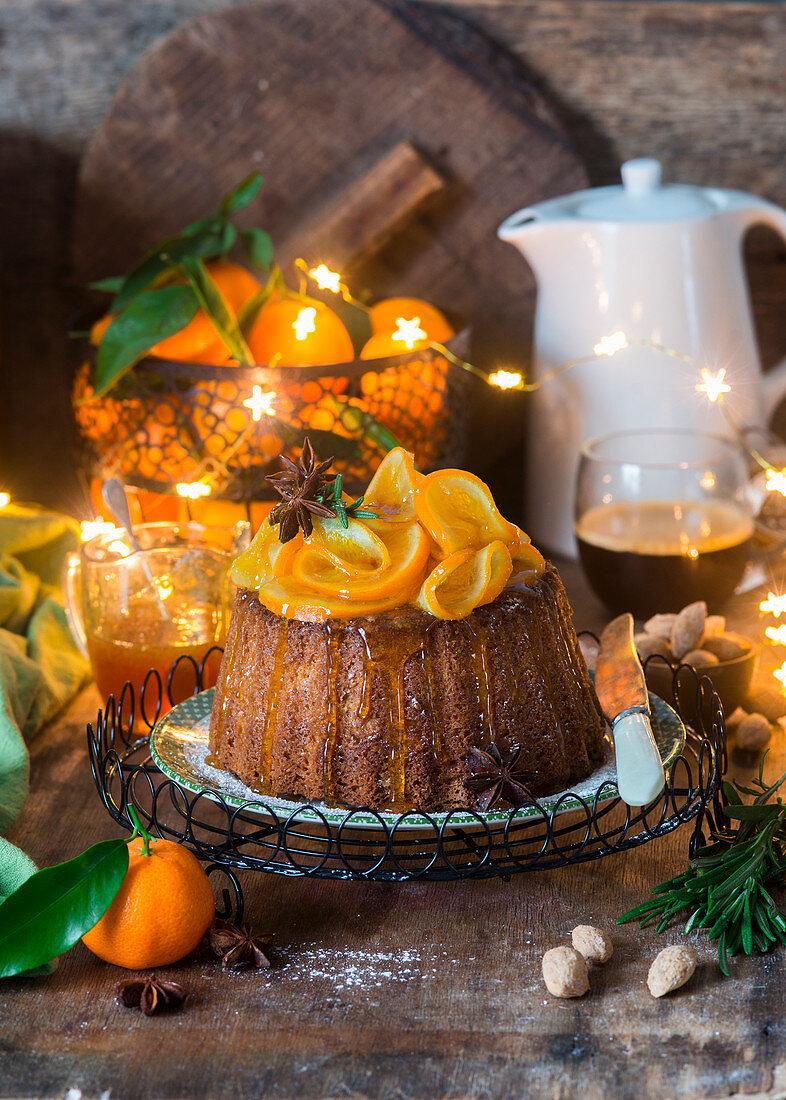 Zitrus-Mandelkuchen mit Mandarinen-Rosmarin- Karamell
