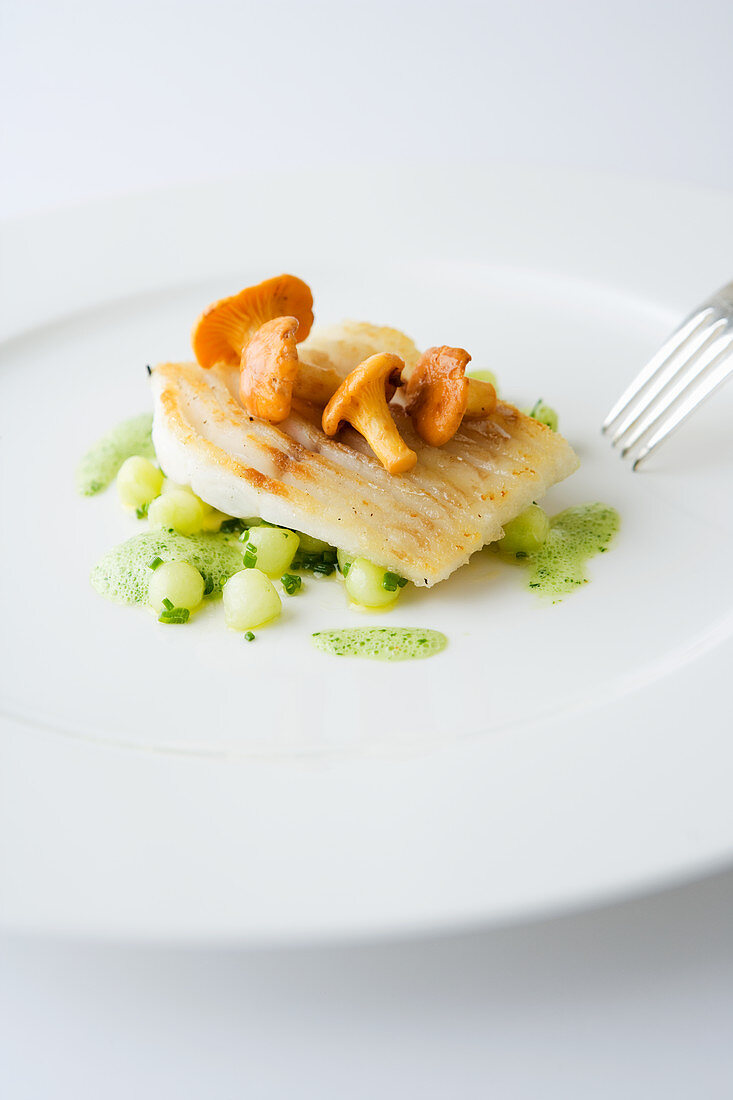 Zander on potato pearls with chanterelles and herb sauce