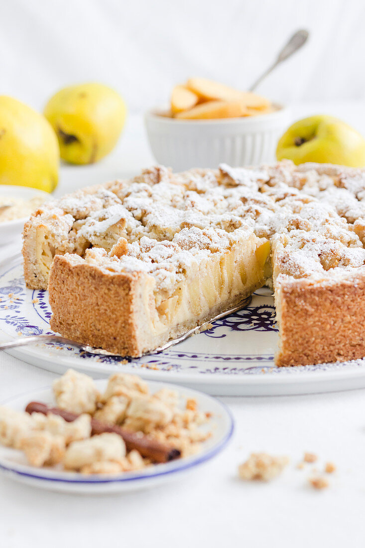 Quince cheesecake with almond crumbles and spelt and almond shortcrust pastry