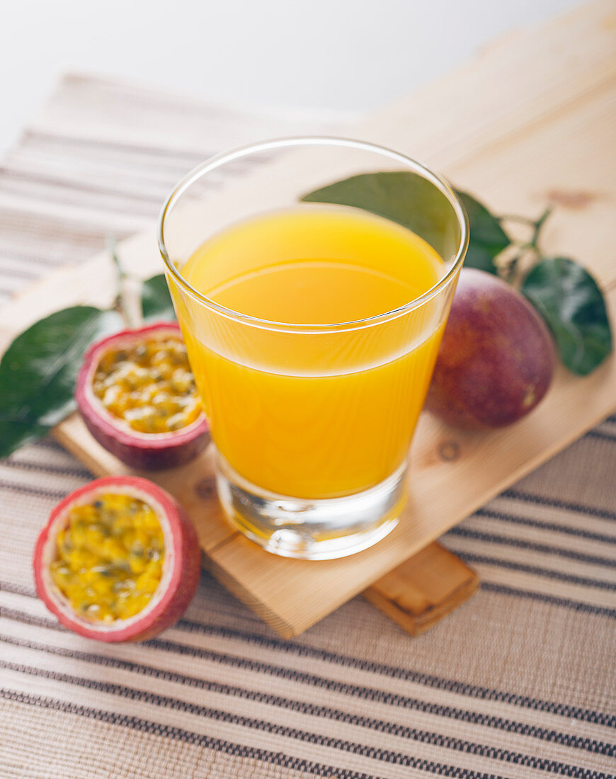 A glass of passion fruit juice