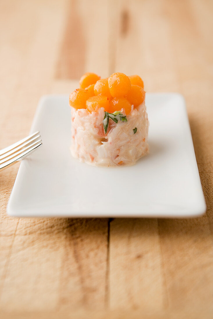 Lobster tartar with sweet potato pearls