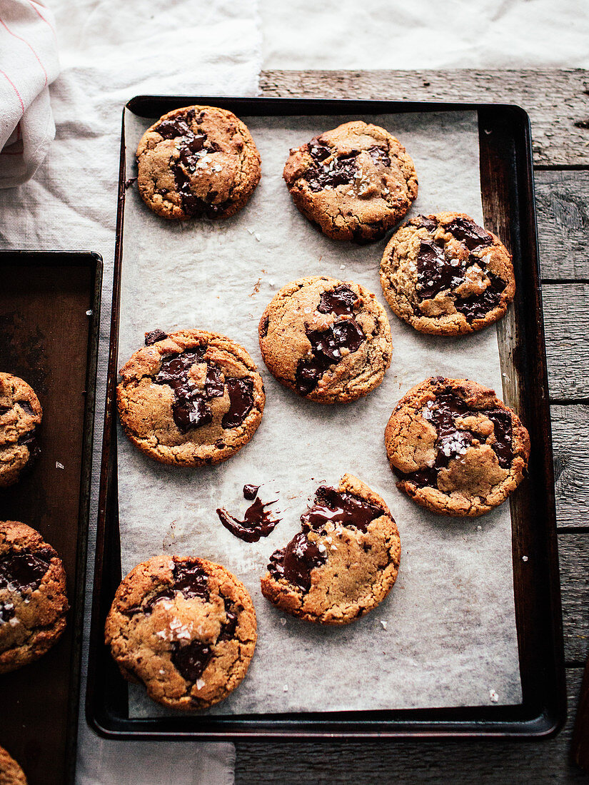 Chocolate chip cookies on a baking tray