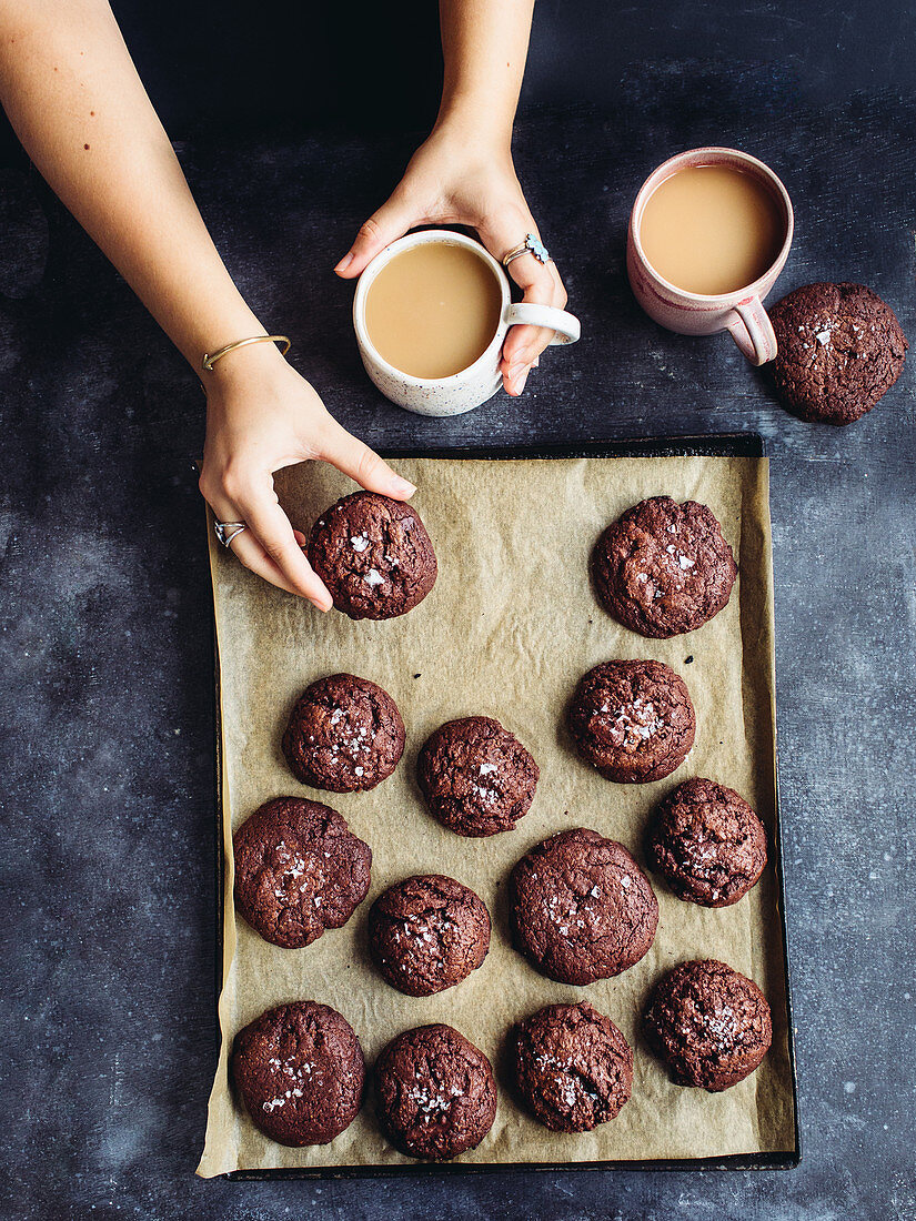 Chocolate biscuits on a baking tray